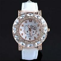 HELLO KITTY WHITE BLING QUARTZ WATCH