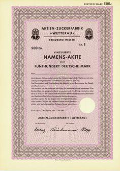 "Aktien-Zuckerfabrik ""Wetterau"" / Vinculierte Namens-Aktie Lit. E 500 DM"