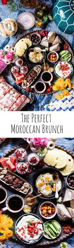 The perfect Moroccan brunch. - World Cuisine Breakfast And Brunch, Breakfast Recipes, Moroccan Breakfast, Breakfast Platter, Breakfast Salad, Morrocan Food, Moroccan Salad, Good Food, Yummy Food