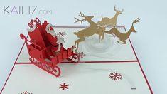 KAILIZ Santa Claus with Reindeer 3D Pop-up Kirigami Christmas Card