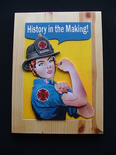 """Rosie FireFighter X This is a commission piece from the San Diego Fire Dept for a fundraising event. It is a take on """"Rosie the Riveter"""" war bon. Female Firefighter Quotes, Firefighter Paramedic, Firefighter Decor, Volunteer Firefighter, Volunteer Gifts, Volunteer Appreciation, Paramedic Tattoo, Fire Department, Fire Dept"""