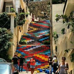 Painted stairs in Armenia Street, Beirut, Lebanon. Street Art Graffiti, Stair Art, Beirut Lebanon, Painted Stairs, Thinking Day, Stairway To Heaven, To Infinity And Beyond, Colorful Pictures, Architecture
