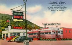 "Lesher's Diner, Routes 11 and 15, Liverpool, Pa. - Postcards Printed on the back of this linen postcard: ""Lesher's Diner, Routes 11 & 15, 28 miles north of Harrisburg, 28 miles south of Sunbury, Liverpool, Penna. Breakfast, luncheon, dinner. Specializing in steaks, chops, sea-food. Home-made pastries baked in our kitchen, Have your car serviced at adjoining AMOCO Station while dining in our delightful diner. 24 hour service. Photography by James E. Hess. Pub. by Mellinger Studios, ..."