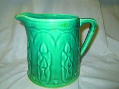 Great Antique Green Pottery Pitcher Tulips by CarolsTrueVintage