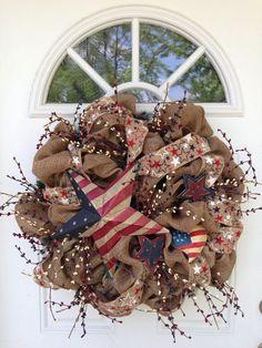 Burlap Patriotic Wreath by ViennaSparkleWreaths on Etsy
