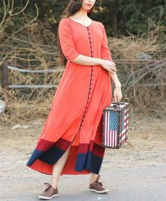 Coral Solid long Kurti with Potli Detailing Indian Designer Outfits, Indian Outfits, Designer Dresses, Long Kurtis, Kurti Patterns, Kurta Designs Women, Simple Dresses, Indian Wear, Indian Fashion