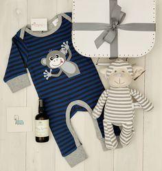 """Boutique Baby Hamper - """"Cheeky Monkey"""" Baby Hamper, Baby Baskets, Baby Massage, Summer Romper, Baby Boutique, Baby Gifts, Baby Boy, Monkey Baby"""