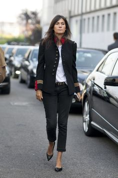 Fashion Week Spring 2014 : All the Best Street Style Straight From Milan Fashion Week!>>>A military-inspired jacket makes for the perfect standout piece.