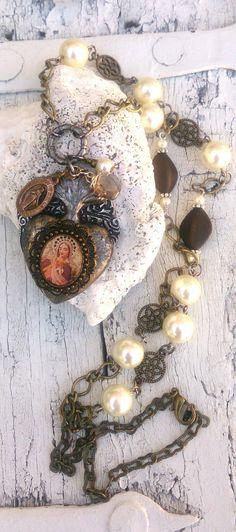 Sacred Heart Assemblage Necklace Religious by SecretStashBoutique