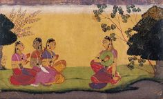Illustration to the Gita Govinda, By Manaku of GulerGuler/Basohli 1730. The Gopis counsel Radha.