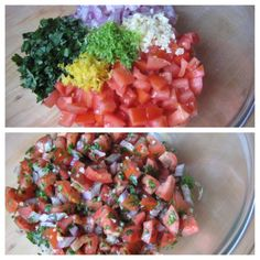 Blend tomatoes, cilantro, red onion, garlic, lemon juice & zest, lime ...