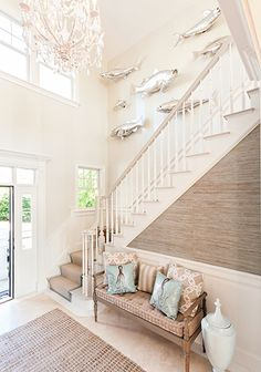 20 Unique Gallery Wall Ideas with a Coastal & Nautical Theme - Stairway Gallery Wall – Grass cloth wallpaper - Coastal Farmhouse, Coastal Cottage, Coastal Homes, Coastal Style, Coastal Decor, Coastal Entryway, Coastal Rugs, Coastal Wall Art, Beach Cottage Style
