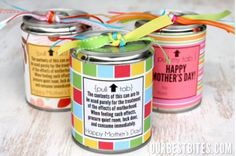 mothers day craft - remove pop top from can by using can opener and save.  Decoupage paper to can.  Fill can with tissue paper and small treats (candy).  Tie decorative ribbon to pop top.