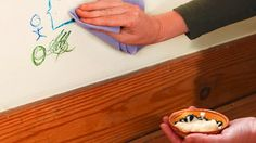"Use Mayonnaise to Clean Crayon ""Art"" From Your Walls.  The oils in the mayo do wonders to break down the wax in crayon. Just dab a little over the crayon lines, wait a few minutes, and then come back with a damp cloth. It may take a little pressure, but the mayo and the crayon should both come off in one fell swoop."