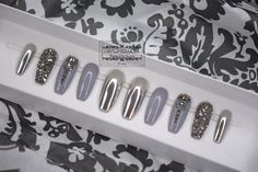 Silver Chrome Press-On Nails   Gloss Grey & Swarovski Crystal Accent Nails   Any Shape by RedIguanaNails on Etsy https://www.etsy.com/listing/507620875/silver-chrome-press-on-nails-gloss-grey