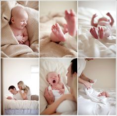 Lifestyle Newborn Session. I love the light and all of the white.