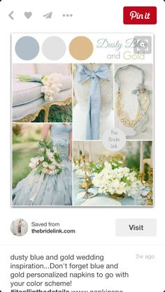 [ Dusty Blue Gold Wedding Inspiration Bride Link ] - Best Free Home Design Idea & Inspiration Blue Gold Wedding, Gold Wedding Colors, Wedding Color Schemes, Wedding Themes, Wedding Flowers, Wedding Decorations, Wedding Ideas, Wedding White, Trendy Wedding