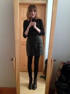 With my black and white spotty shirt | My new black skirt ...