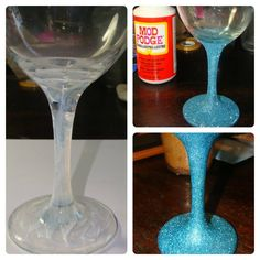 A tutorial for making those fun wine glasses with glittered stems. Great way to customize your drinking glasses! #diy #glittler #craft