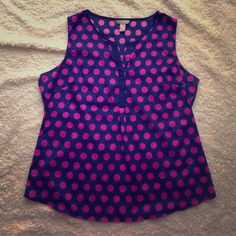 Banana Republic Navy/Pink Polka Dot Top. Size XL. You can never go wrong in Polka Pots! And you will be a stunner in this gorgeous Banana Republic Top. It is a Size XL and is in very good pre owned condition. Banana Republic Tops Blouses