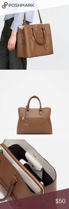 ZARA City Office Bag Selling a brand new City Office tote bag from ZARA. Brown faux leather, sturdy and structured. Spacious outside pocket with zip. Handle and detachable shoulder strap. Zip and magnetic closure. Many inside pockets.  Brand new, WITH tags, never before used. These are stock photos for now, but will upload original photos soon. Open to reasonable offers! Zara Bags