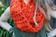 Check out my new Etsy shop, Sweet Bohemia  Long Double Crochet Infinity Scarf- Orange