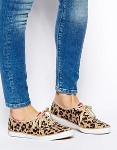 Image 4 ofKeds Champion Leopard Plimsoll Trainers
