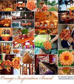 Wonderfully done orange/fall wedding inspiration board.  I like burnt orange -- I went to Auburn, duh!