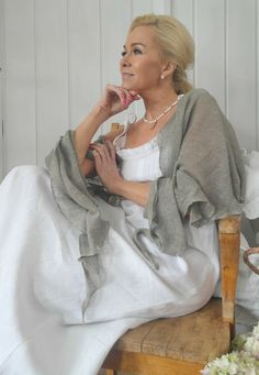 BY PIA`S: THE MOST BEAUTIFUL LINEN DRESSES - EVER (reversed colors: white dress and grey shawl)