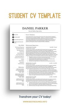 Upgrade your old student CV today - easily and quickly! This student CV template package will help you transform your CV in minutes. Fully customizable in Word and easy to adapt to your dream job opening. You can use a one-page student template or a two-page student CV template to show your career history. The CV student package comes with a matching cover letter template and references page. Unlimited support comes with the junior CV template. Simple Cv Template, Modern Resume Template, Resume Templates, Marketing Resume, Social Media Marketing, Social Media Company, Cover Letter Template, Letter Templates, Cv Template Student