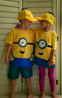 Minion shirts and hats // made with pipe cleaners, freezer paper stencils, acrylic paint, and a whole lot o' masking tape.