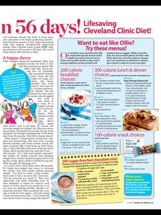 """In 56 Days!"""" from Woman's World, January Read it on the Texture app-unlimited access to top magazines. 100 Calorie Snacks, 70 Lbs, Happy Dance, Slow Cooker Soup, 100 Calories, Positive Affirmations, School Projects, January 8, Low Carb"""