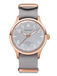 POP-PILOT® watches  BCN with a silver grey nato strap matching the rosé-gold casing