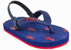 Polo sandals by Ralph Lauren. in sizes 2T (SO CUTE!) to size 12.   (http://www.dllrainwear.com/ralph-lauren-kids-infant-polo-layette-amino-navy-summer-sandals-flip-flops-with-back-strap/)
