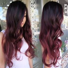 Ombre hair: the most beautiful color gradients and if we dared ombre hair? Best Ombre Hair, Ombre Hair Color, Hair Color Balayage, Burgundy Balayage, Hair Colour, Baliage Hair, Fantasy Hair Color, Wine Hair, Hair Videos
