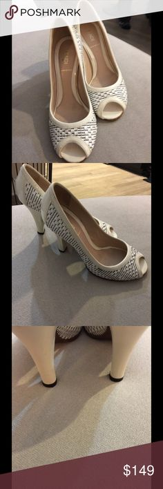 Fendi peep toe white heels Sz 6.5 Gorgeous preowned heels worn only a few times. Fendi Shoes Heels