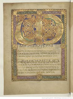 Glimmering gold: magnificent page from a distant past. Medieval Manuscript, Medieval Art, Illuminated Letters, Illuminated Manuscript, Free Doodles, Doodle Lettering, Lettering Styles, Carolingian, Celtic Art