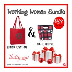 December 2016 Customer Special...#AroundTownTote paired with the #GoToThermal makes the perfect Working Woman Bundle! #ThirtyOneGifts