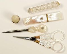 1700's French Sewing Set.   Mother of pearl with diamonds