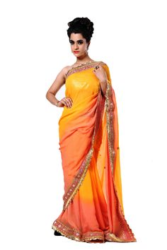 Ranas Woman Pure Georgette Peach Sarees