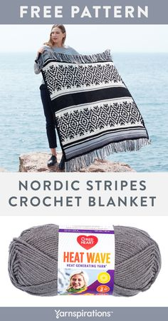 Nov 2019 - Free crochet pattern using Red Heart Heat Wave yarn. With easy stripes and challenging colorwork, this Nordic-inspired crochet blanket has enough variation to keep you interested as you work. Crochet Afghans, Striped Crochet Blanket, Red Blanket, Crochet Home, Crochet Crafts, Crochet Baby, Knit Crochet, Crochet Ornaments, Crochet Snowflakes