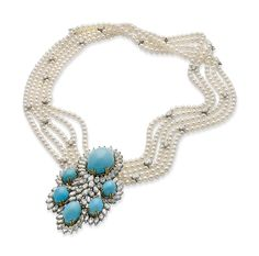 NECKLACE PEARLS, DIAMONDS AND CAICOS  Around the neck of five rows of pearls approximately 4.1 mm. dotted with small diameter diamond shuttle holding a central motif of elongated ornate turquoise cabochons in a circle shuttle diamond frame gray and yellow gold