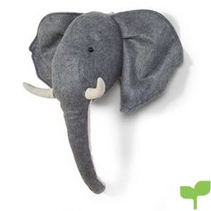 This sweet felt elephant by childhome will look perfect against the wall ln a nursery. This fun elephant head is grey with big floppy ears, a long curled trunk and big horns. The elephant is easily hung on the wall using a loop on the back of the head. Antler Wall Decor, Cool Wall Decor, Flower Wall Decor, Giraffe Head, Elephant Head, Grey Elephant, Elephant Lamp, Elephant Wall Decor, Safari Animals