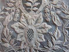 Antique French handmade needle lace panel, 1800s hand embroidered lace, arts and crafts lace , whitework handwork embroidery. $54.00, via Etsy.