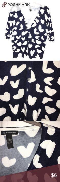 Cute cardigan! Navy with white hearts. Statement jeweled buttons, 3/4 sleeves. INC International Concepts Sweaters Cardigans