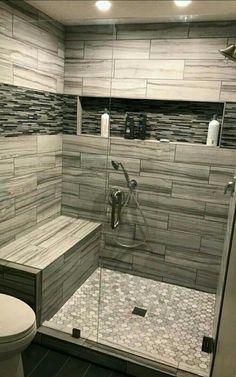 Master Bathroom Shower, Modern Bathroom, Bathroom Lino, Parisian Bathroom, Bathroom Interior, Douche Design, Bathroom Tile Designs, Bathroom Ideas, Bathroom Vanities
