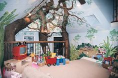Its a Jungle in Here - Playroom, This was originally an attic space above my husbands office -complete with air conditioning ductwork.