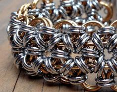 Mens Stainless Steel & Jewelry Brass Chainmaille Bracelet, Japanese 12-in-2