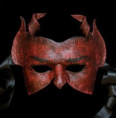 Diavolo by TheArtOfTheMask on Etsy - Devil half mask
