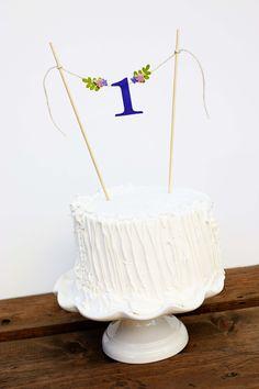 First Birthday Cake Banner One Purple